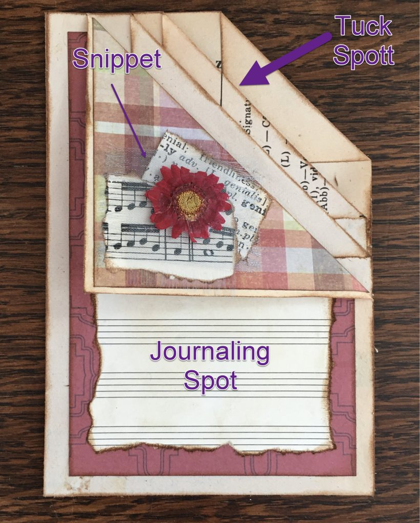 tuck snippet and journaling spot for your junk journal