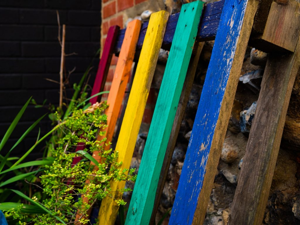 multicolored wood pallet is an example of what is upcycling